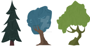 Trees - a style and lighting test by TwistedGale