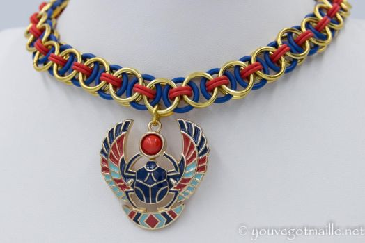 Chainmaille Scarab Choker by youvegotmaille