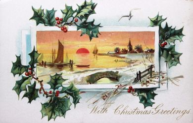 Holly Sunset Christmas Greetings by Yesterdays-Paper