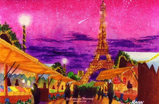 March Watercolor 05: Paris Christmas Market by SlytherclawPadawan
