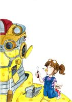 Girl with robot by Smully