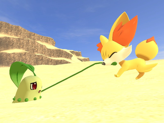 Chikorita in Quicksand (Request) by CosmicRay25
