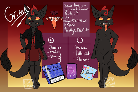 Fursona reference sheet: GRIMM by Cats-Grimm