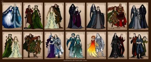 Silmarillion Valar Maiar Couples by wolfanita