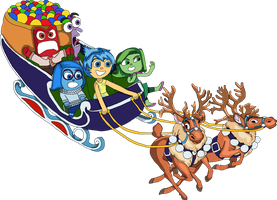 Inside Out emotions in a festive sleigh riding by EricVonSchweetz