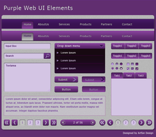 Purple Web UI Elements by Artfans
