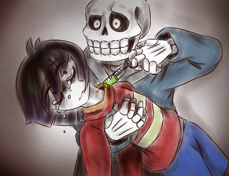 Frask and Sans / Underfail by UndyneStrongFish