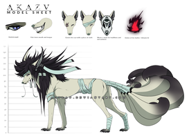 Akazu - Model Sheet - Kitsune form by Autlaw