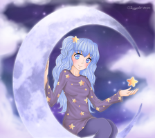Art-Trade : Mochatchi - The Girl On The Moon by Kitty-Vamp