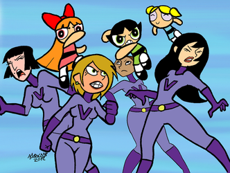 Powerpuff Girls and Purple vixen soldiers by Shabazik