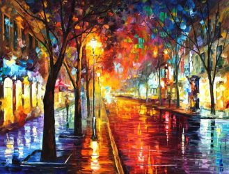 Street of the old town by Leonid Afremov by Leonidafremov