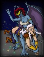 Puck and Demona Pow pows by iamdemona