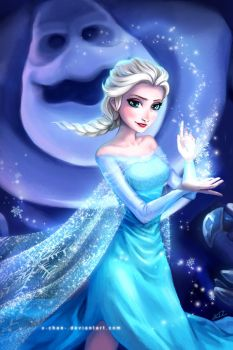 Elsa and Marshmallow by elisetrinh