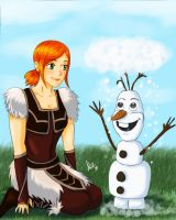 Hope and Olaf .art trade. by sexyfairy