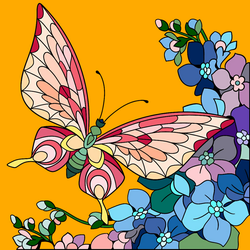 Butterfly And Flowers. by catdragon4