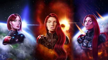 Jane Shepard, The Fire haired Woman(Happy N7 day!) by MarshallMadness