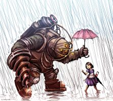 Bioshock - Big Daddy in the Rain by maXKennedy