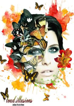 Watercolor Butterfly Photomanipulation by loud-illusions