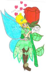 Tinkerbell Receives a Rose by Winter-Colorful