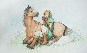 Link and Epona Watercolor by KayouVirus