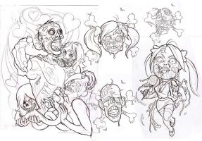 Zombie Tattoo Flash Sheet by johndevilman