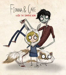 Fionna Y Cake with Vampire king by malengil
