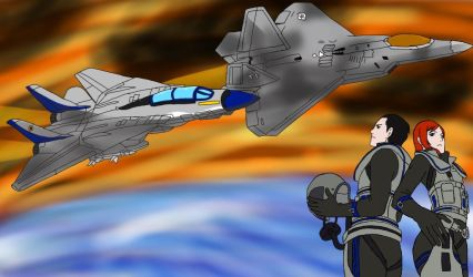 F14F22: Maverick and Raptor by AquaWolfIsis