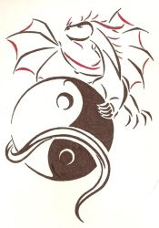 Yin Yang Dragon Abstract by Doofus96