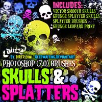 Grunge Skull-Splatter Brushes by KeepWaiting