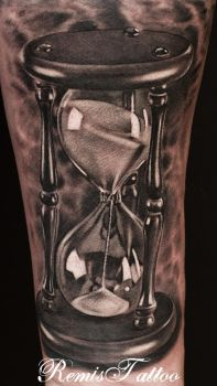 hourglass tattoo black and grey by Remistattoo