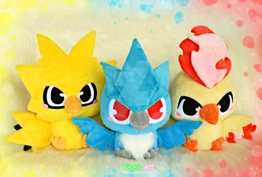 Baby Zapdos, Articuno and Moltres plush - Pokemon by PinkuArt
