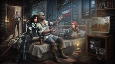 Art Geralt Cirilla Yennefer Triss by Maxifen