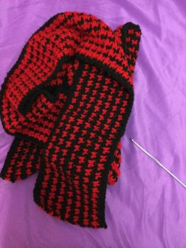Black and Red Houndstooth Scarf by Crazylittleloon