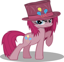 Pinkamena Diane Pie with a hat by RiskyTheArt