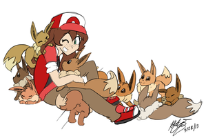 ALL THE EEVEES by CuddlesAndHuggles