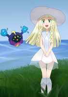 Lillie and Cosmog - Pokemon Sun and Moon