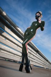Military Latex Catsuit by suiluj