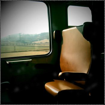 old seat in an old train by miki