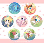 Legendary Pokemon Button Set by Kastraz