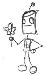 Robot with Flower by LegendaryFrog