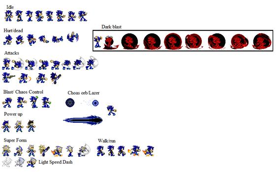 My Slade The Hedgehog (Sprite Sheet) by Shadow2433-Slade