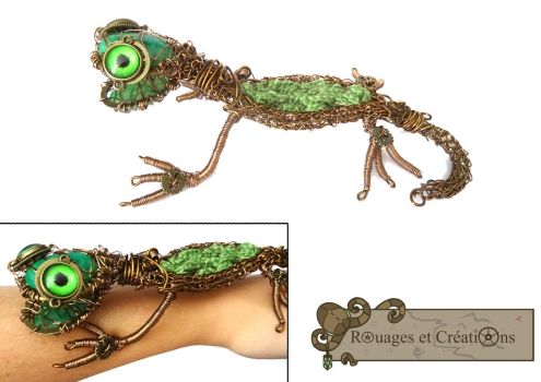 Steampunk wire wrapping and viking knit lizard by Rouages-et-Creations
