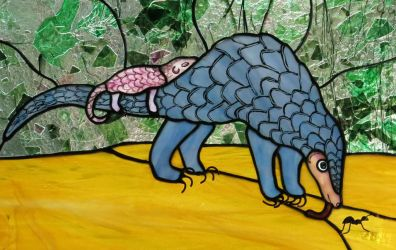 Pangolin Stained Glass Panel by trilobiteglassworks