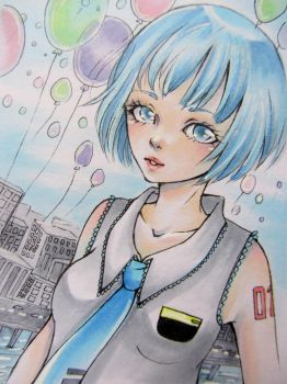 ACEO Card: Balloon City by LinnMangay