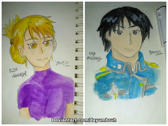 Riza Hawkeye and  Roy Mustang by Dayumbruh