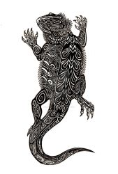 Tribal Bearded Dragon Tattoo Design by chezarawolf
