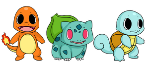 Kanto Starters by ChibiTigre