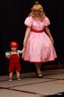 Vintage style Peach and Baby Mario by MandyNeko