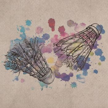 New and Old shuttlecock and Watercolor Stains by silvaterra