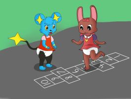 Amy and Katie playing Hop Scotch -By lilLilly- by DanielMania123